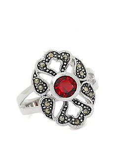New Directions Silver-Tone Red Crystal Boxed Ring