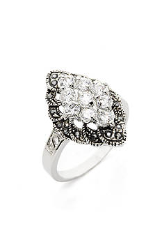 New Directions Silver-Tone Crystal Cluster Boxed Ring