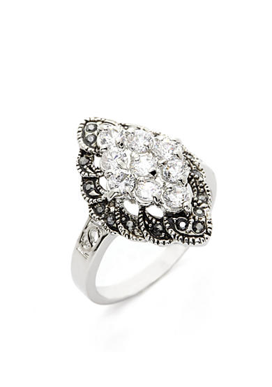 New Directions® Silver-Tone Crystal Cluster Boxed Ring
