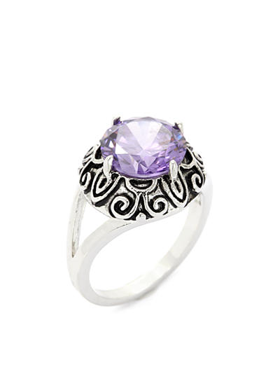 New Directions® Silver-Tone Purple Crystal Boxed Ring
