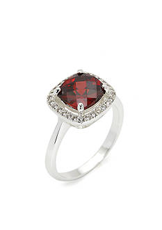 New Directions® Silver-Tone Red Crystal Boxed Ring