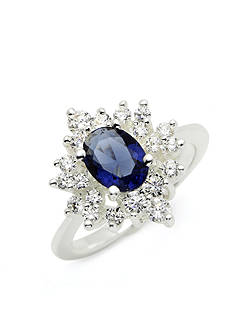 New Directions Silver-Tone Blue Oval Crystal Boxed Ring