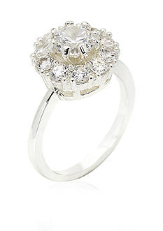 New Directions Silver-Tone Round Crystal Boxed Ring
