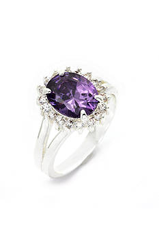 New Directions Silver-Tone Purple Oval Crystal Boxed Ring