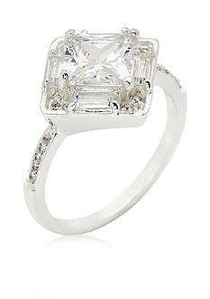 New Directions® Silver-Tone Crystal Boxed Ring