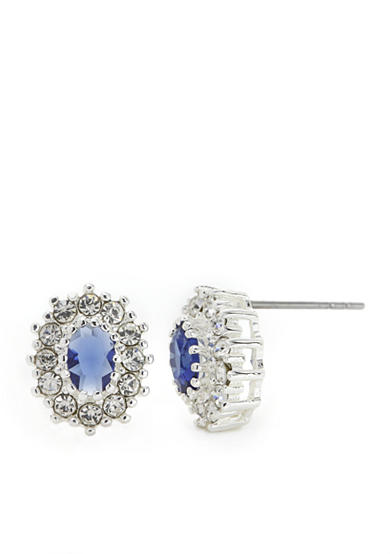 New Directions® Silver-Tone Oval Blue Crystal Stone Boxed Earrings