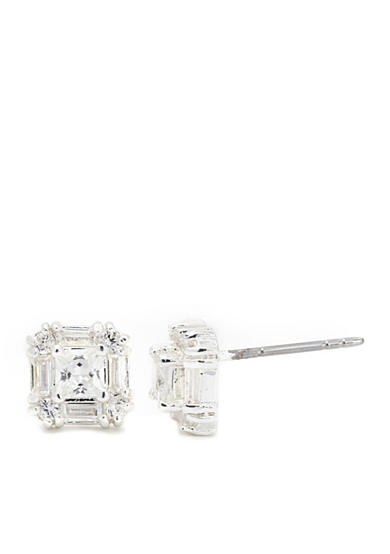 New Directions® Silver-Tone Cubic Zirconia Square Boxed Earrings