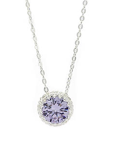 New Directions® Silver-Tone Cubic Zirconia Round Pendant Boxed Necklace