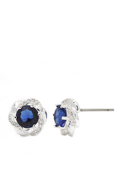 New Directions® Silver-Tone Cubic Zirconia Round Boxed Earrings