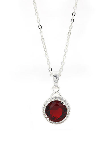 New Directions® Silver-Tone Cubic Zirconia Stone Pendant Boxed Necklace