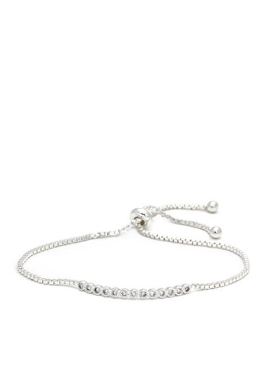 New Directions® Silver-Tone Cubic Zirconia Round Adjustable Boxed Bracelet
