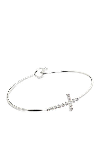 New Directions® Silver-Tone Cubic Zirconia Cross Bangle Boxed Bracelet