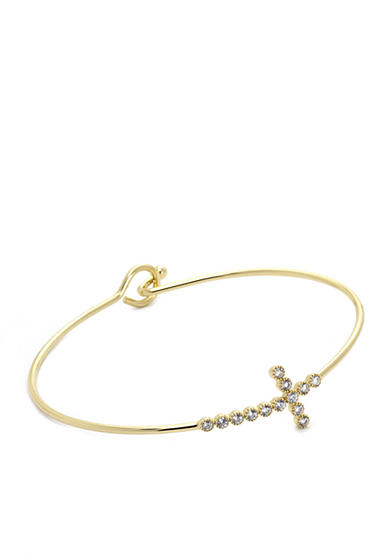 New Directions® Gold-Tone Cubic Zirconia Cross Bangle Boxed Bracelet