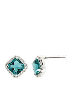 New Directions Silver-Tone Emerald Cubic Zirconia Stud Boxed Earrings