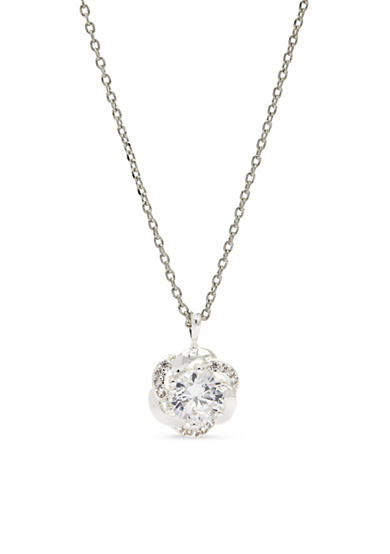 New Directions® Silver-Tone Cubic Zirconia Knot Pendant Boxed Necklace