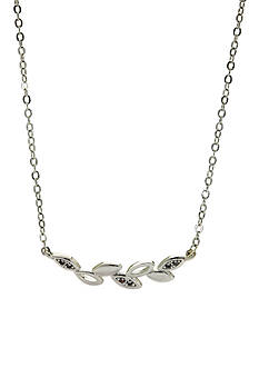New Directions Silver-Tone Crystal Vine Leaf Pendant Boxed Necklace