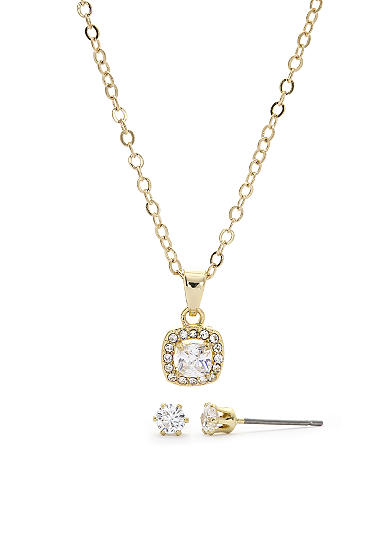 New Directions® Gold-Tone Cubic Zirconia Pendant and Earrings Boxed Set
