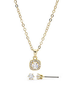 New Directions Gold-Tone Cubic Zirconia Pendant and Earrings Boxed Set