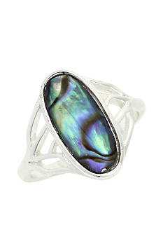 New Directions Silver-Tone Abalone Boxed Ring