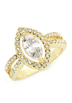 New Directions Gold-Tone Cubic Zirconia Marquis Boxed Ring