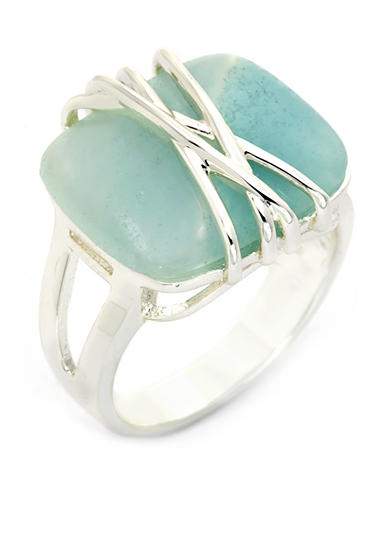 New Directions® Silver-Tone Wrapped Up Green Aventurine Boxed Ring