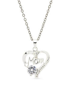 New Directions® Silver-Tone Cubic Zirconia Mom Pendant Boxed Necklace