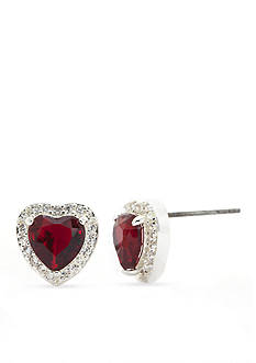 New Directions® Silver-Tone Cubic Zirconia Heart Stud Boxed Earrings