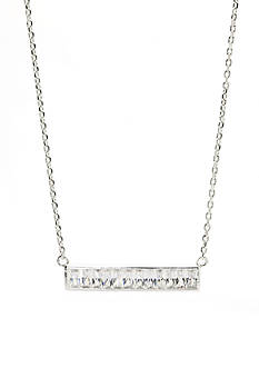 New Directions® Silver-Tone Cubic Zirconia Bar Pendant Boxed Necklace