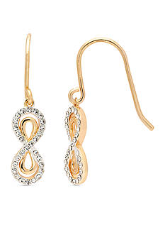 New Directions Gold-Tone Crystal Infinity Drop Earrings