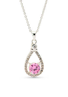New Directions Silver-Tone Pink Cubic Zirconia Pendant Boxed Necklace