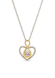 New Directions® Two-Tone Cubic Zirconia Infinity Heart Pendant Boxed Necklace