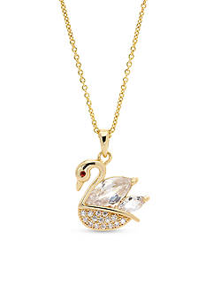 New Directions® Gold-Tone Cubic Zirconia Swan Pendant Boxed Necklace