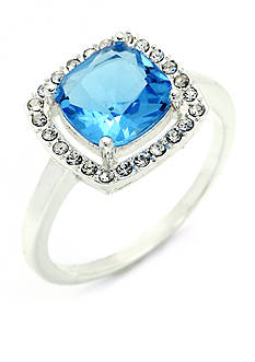 New Directions® Silver-Tone Blue Topaz Crystal Boxed Ring
