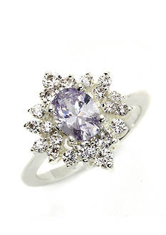 New Directions® Silver-Tone Star Burst Cubic Zirconia Boxed Ring