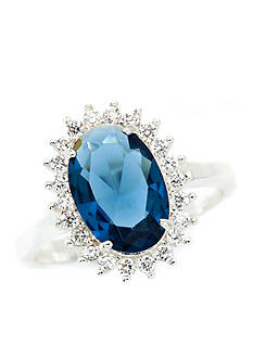 New Directions® Silver-Tone Blue Cubic Zirconia Flower Boxed Ring
