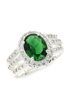 New Directions® Silver-Tone Emerald Crystal Boxed Ring