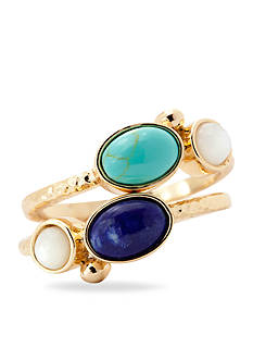 New Directions® Gold-Tone True Blue Stack Ring Boxed Set