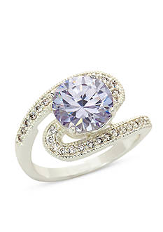 New Directions® Silver-Tone Amethyst Cubic Zirconia Boxed Ring