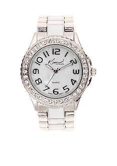 Kim Rogers Silver Watch With White Inner Links