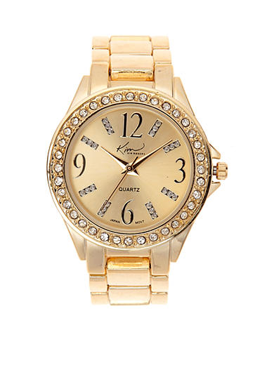 Kim Rogers® Gold Bracelet Watch with Gold Dial