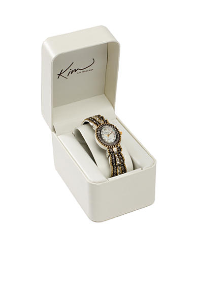 Kim Rogers® Women's Oval Two-Tone Cuff Bangle Watch