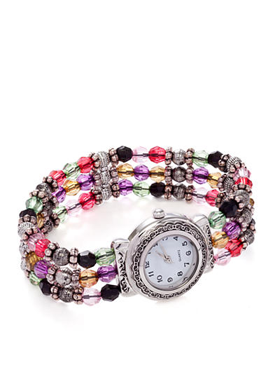 Kim Rogers® Women's Round White Dial Multi-Bead Analog Stretch Bracelet Watch