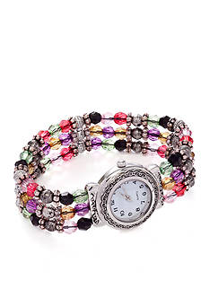 Kim Rogers Women's Round White Dial Multi-Bead Analog Stretch Bracelet Watch