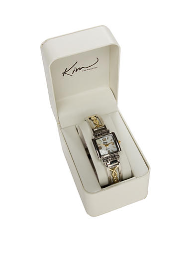 Kim Rogers® Women's Two-Tone Bangle Watch