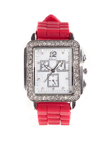 Kim Rogers® Women's Square Case Red Mercury Silicone Rubber Strap Watch