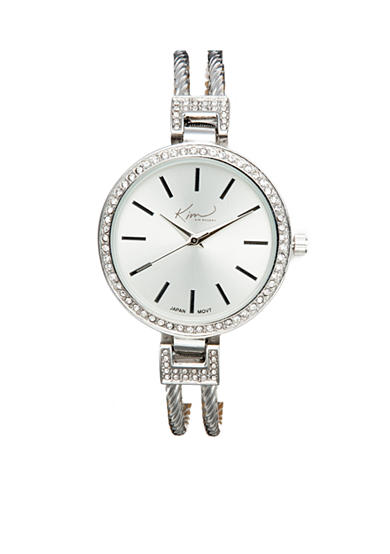 Kim Rogers® Women's Round Silver-Tone Cuff Bangle Watch