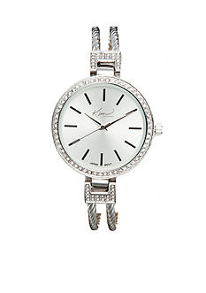 Kim Rogers Women's Round Silver-Tone Cuff Bangle Watch