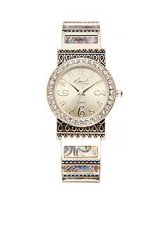 Kim Rogers Women's Round Gold-Tone Abalone Cuff Watch