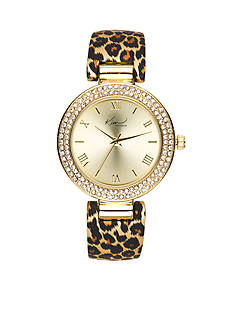 Kim Rogers Women's Gold-Tone Leopard Cuff Bangle Watch