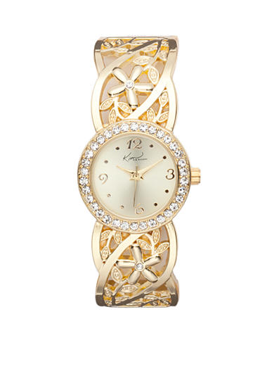 Kim Rogers® Women's Round Gold-Tone Floral Band Cuff Bangle Watch